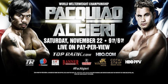 UNDEFEATED WBO LIGHT WELTERWEIGHT CHAMPION CHRIS ALGIERI TO CALL THE PALAZZO® LAS VEGAS HOME FOR TRAINING CAMP IN PREPARATION FOR FIGHT AGAINST MANNY PACQUIAO